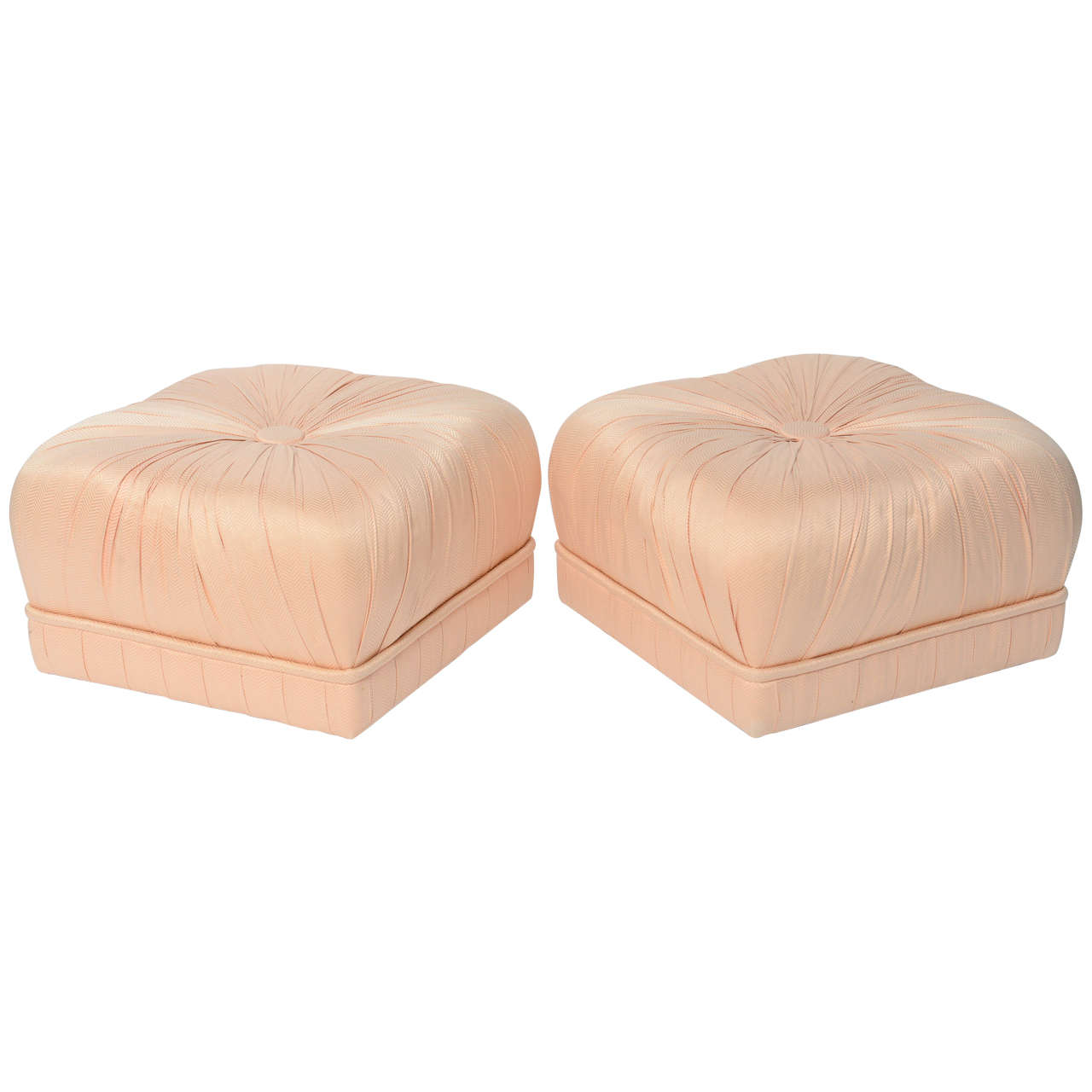 Luxe Pair of Hollywood Poufs or Ottomans on Casters For Sale