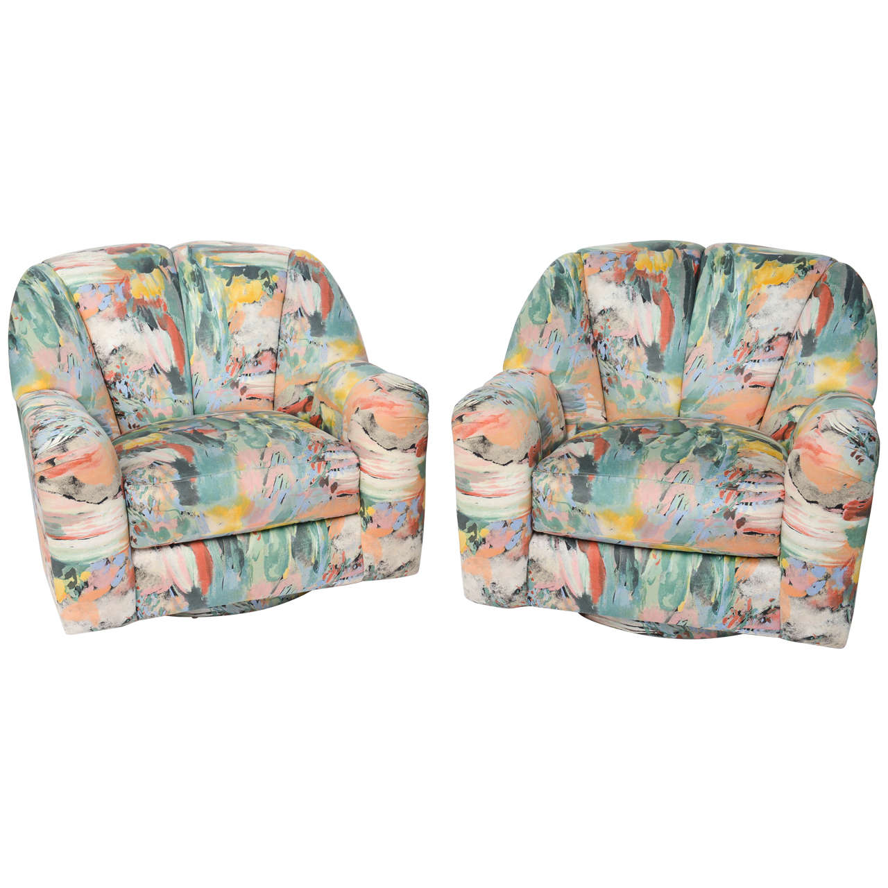 Exceptional 1980s Directional Swivel Lounge Chairs