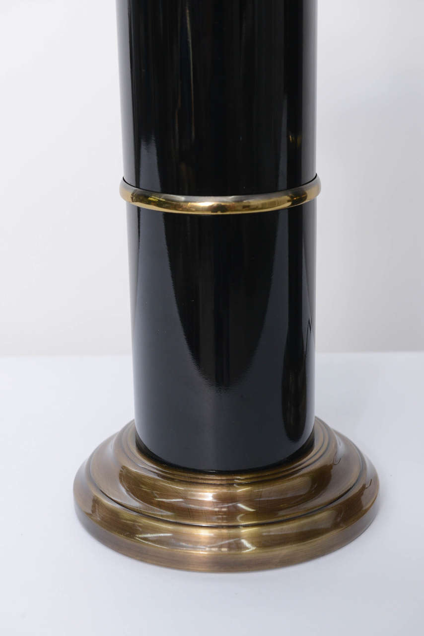 Sleek Modern Empire Style Brass and Black Lacquer Columnar Table Lamps In Good Condition In Miami, FL