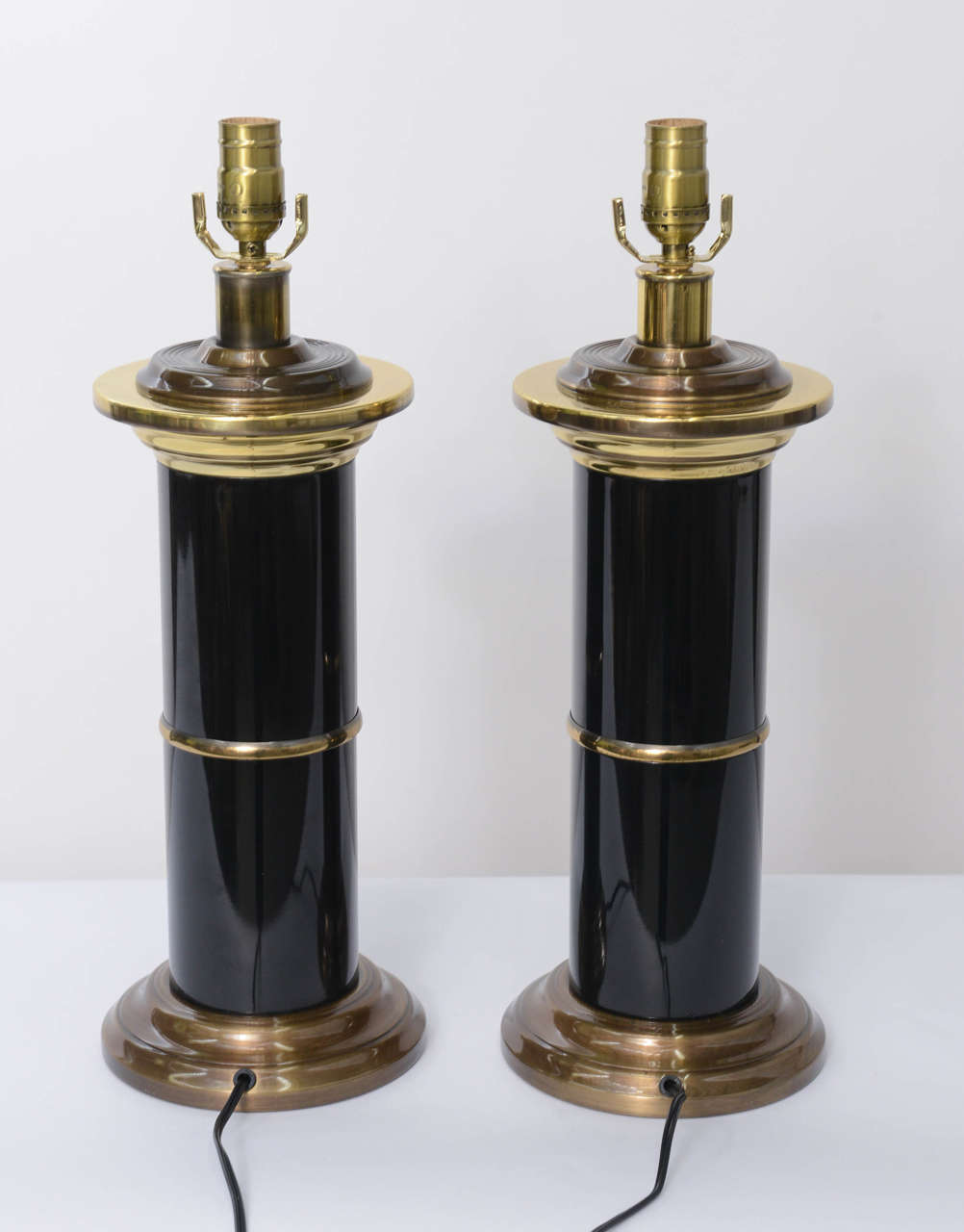 Sleek Modern Empire Style Brass and Black Lacquer Columnar Table Lamps 1
