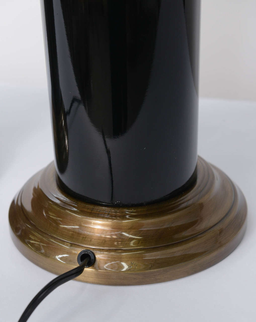 Sleek Modern Empire Style Brass and Black Lacquer Columnar Table Lamps 2