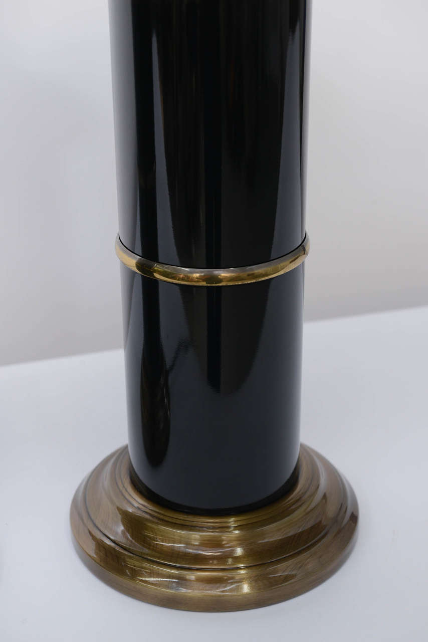 Sleek Modern Empire Style Brass and Black Lacquer Columnar Table Lamps 5