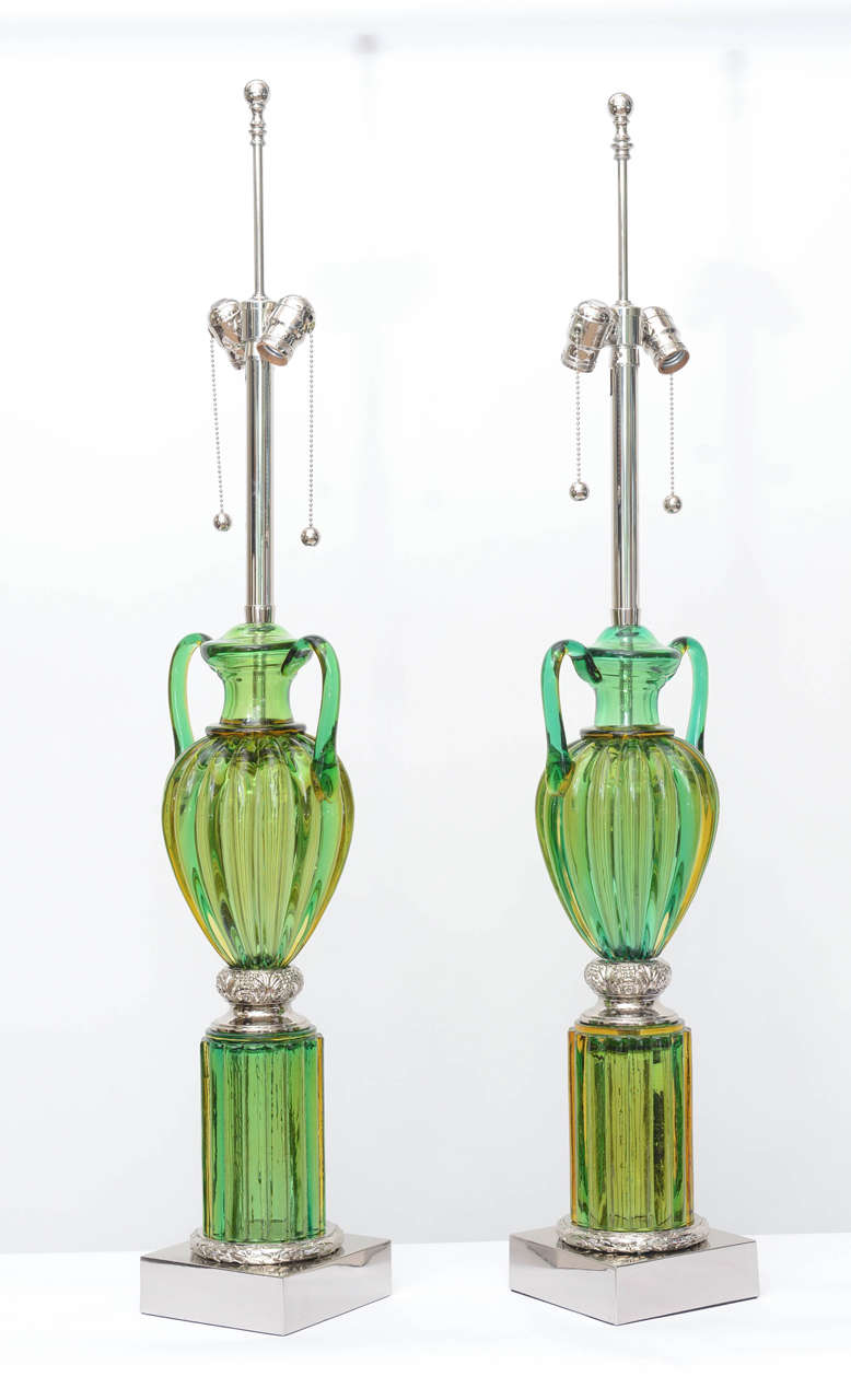 Pair of Vintage Murano Emerald Green Glass Lamps by Marbro 2