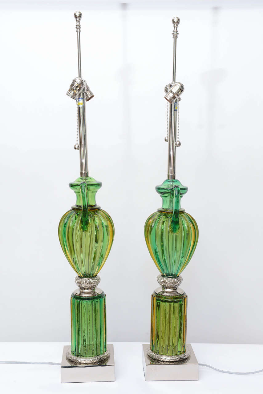 Pair of Vintage Murano Emerald Green Glass Lamps by Marbro 5