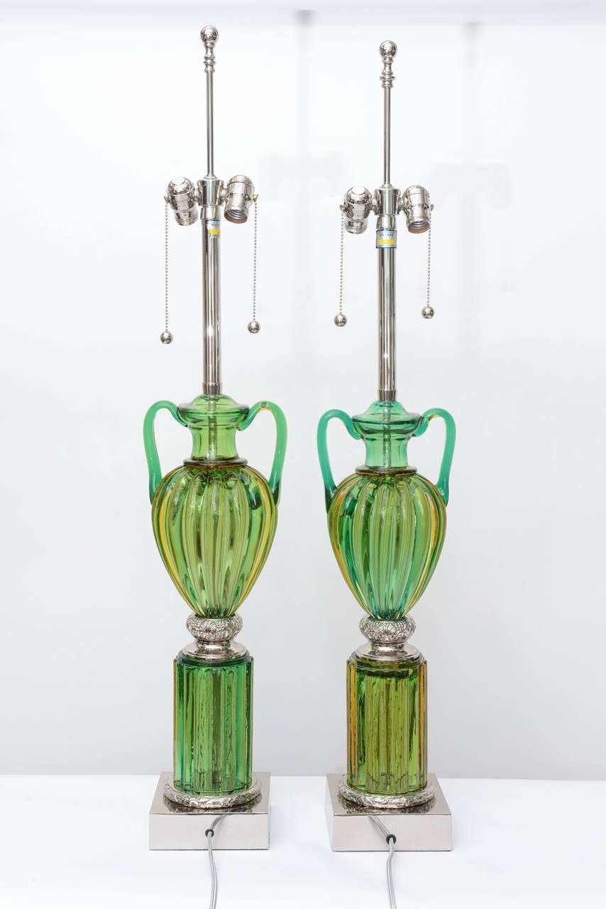 Pair of Vintage Murano Emerald Green Glass Lamps by Marbro 6