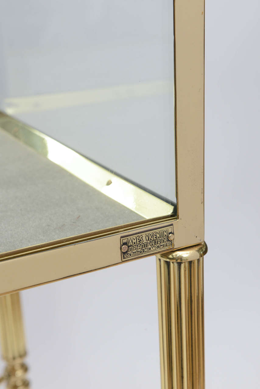 Brass and Glass Vitrine in the Manner of Osvaldo Borsani In Excellent Condition For Sale In East Hampton, NY