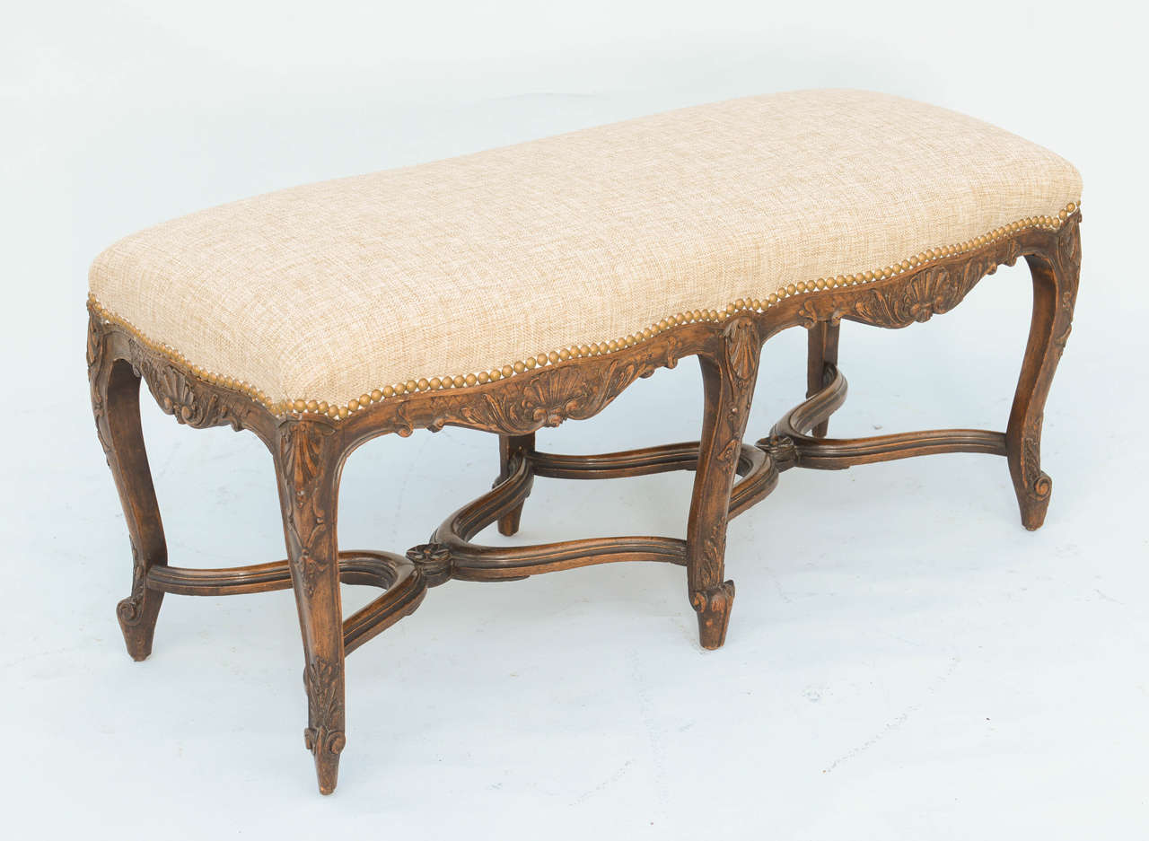 French Regence Style Walnut Bench At 1stdibs