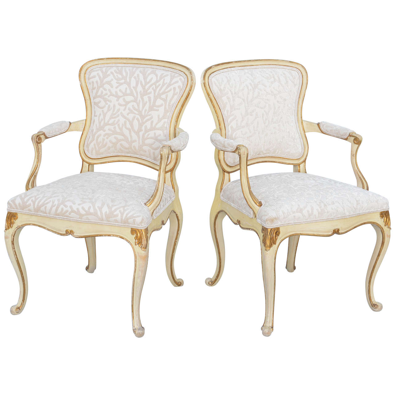 Pair of Painted & Parcel Gilt Armchairs