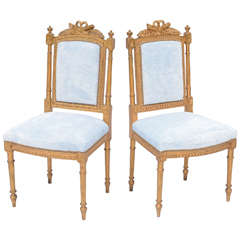 Pair of Louis XVI Giltwood Hall Chairs