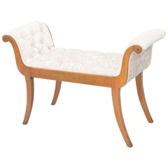 Satinwood Rolled Arm Window Seat Bench