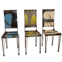 French Metal Chairs by L. Ceaicas