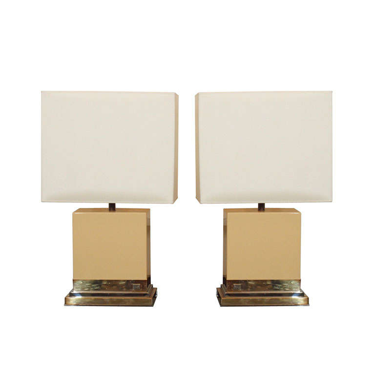 Two Ivory Lacquer Table Lamps By Jean Claude Mahey 1