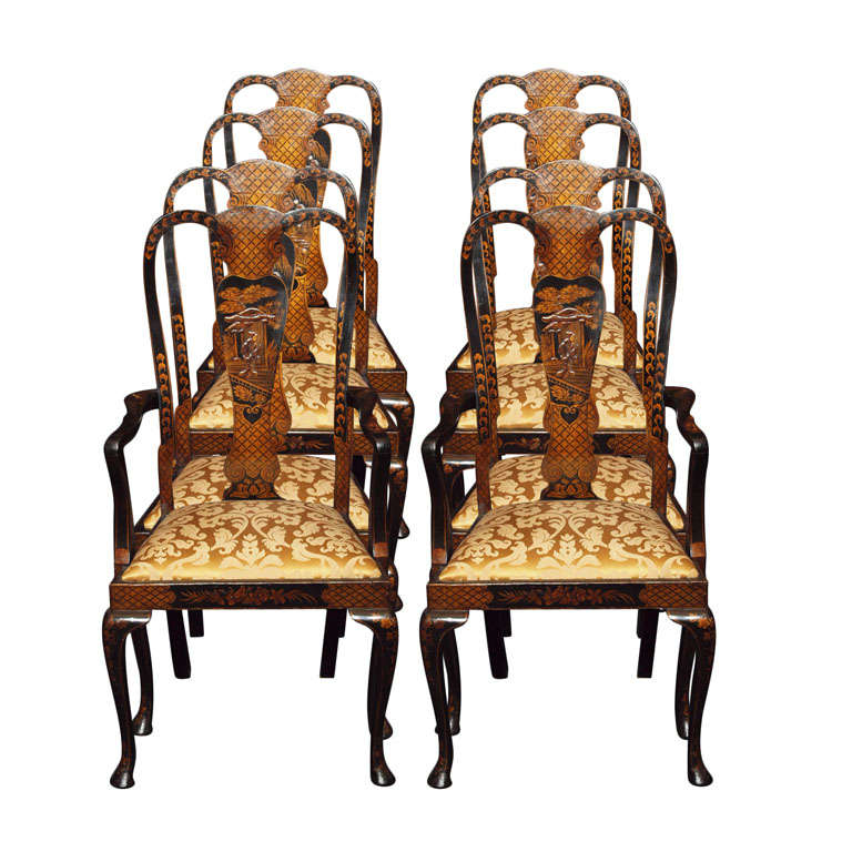 Set of 8 Chinoiserie Lacquered Dining Room Chairs at 1stdibs : x from www.1stdibs.com size 768 x 768 jpeg 80kB