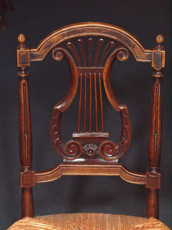 19th Century Set of 8 Antique French Country Dining Room Chairs