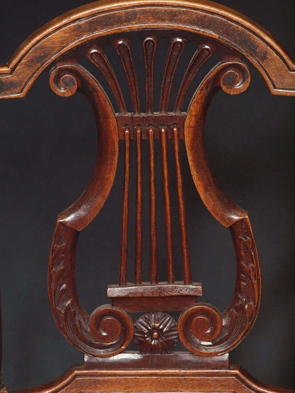 Walnut Set of 8 Antique French Country Dining Room Chairs