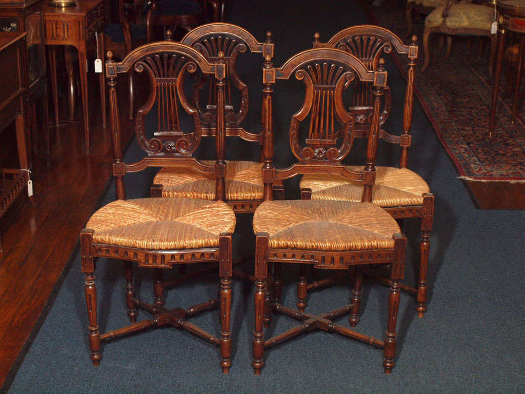 Set of 8 antique french country dining room chairs at 1stdibs for Antique dining room furniture