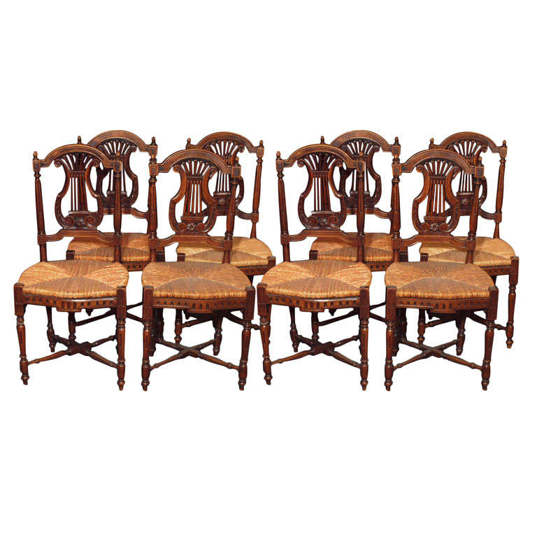 Set of 8 antique french country dining room chairs for Antique dining room furniture