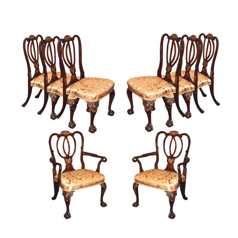 set of 8 antique english mahogany dining room chairs for