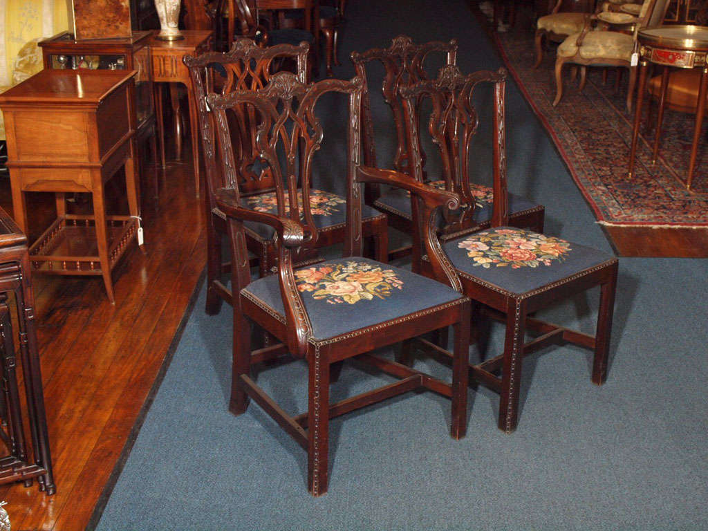 Set of 8 mahogany dining room chairs at 1stdibs for Dining room 8 chairs