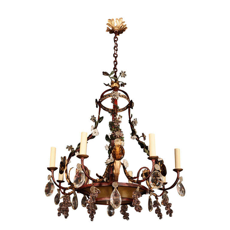 Polychromed Iron Amber Glass And Cut Crystal Chandelier
