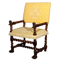French Renaissance Carved Walnut Armchair
