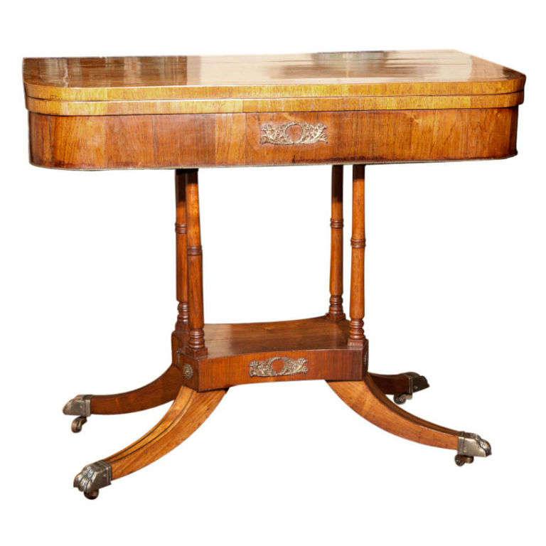 English Walnut Pedestal Game Table