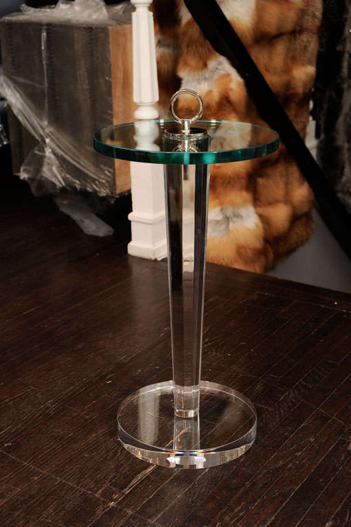 Lucite and Glass Occasional Table with Nickel Hardware 7