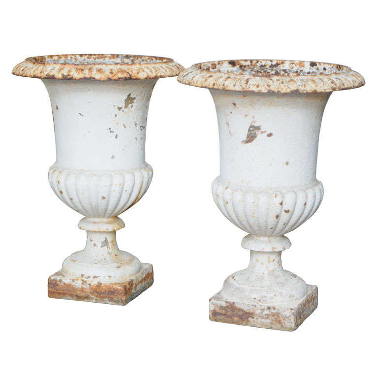 Antique Pair Of French Cast Iron Garden Urns 1