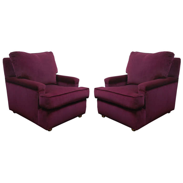 Pair Of Large Classic Upholstered Arm Chairs At 1stdibs