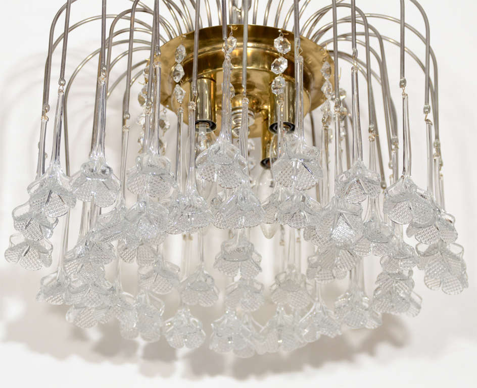 Mid-Century Modern Mid Century Murano Two Tier Handblown Murano Glass Floral Pendant Chandelier