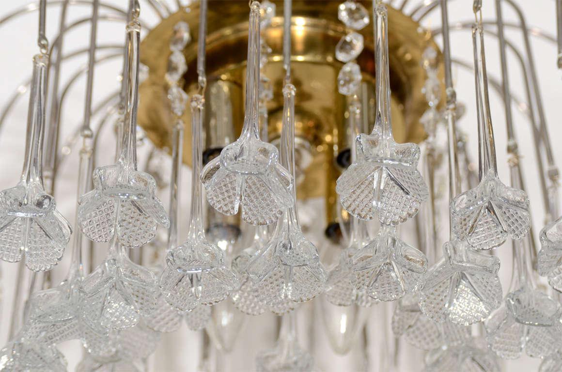 Mid Century Murano Two Tier Handblown Murano Glass Floral Pendant Chandelier 4