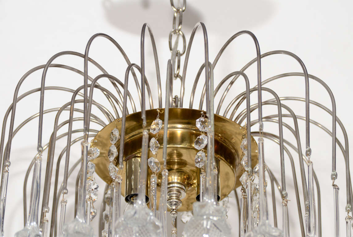 Mid Century Murano Two Tier Handblown Murano Glass Floral Pendant Chandelier In Excellent Condition In New York, NY