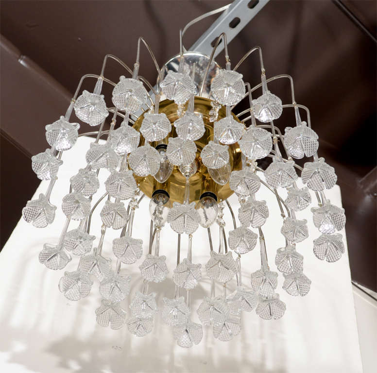 Late 20th Century Mid Century Murano Two Tier Handblown Murano Glass Floral Pendant Chandelier