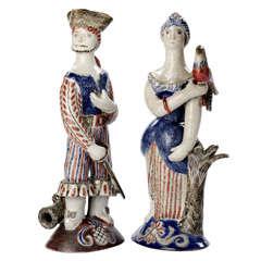 Jean Derval, Pair of Ceramic Sculptures