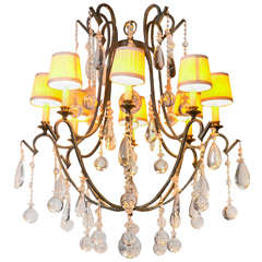 Provincial Style Gilt and Iron, Eight-Arm Chandelier