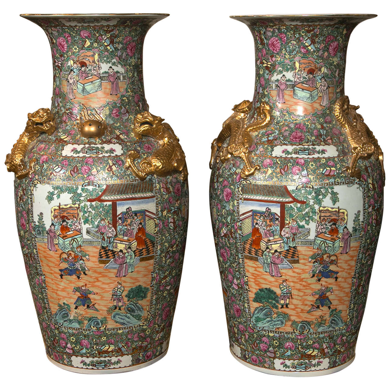 Palatial Pair of Rose Medallion Export Chinese Vases 1
