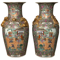 Palatial Pair of Rose Medallion Export Chinese Vases