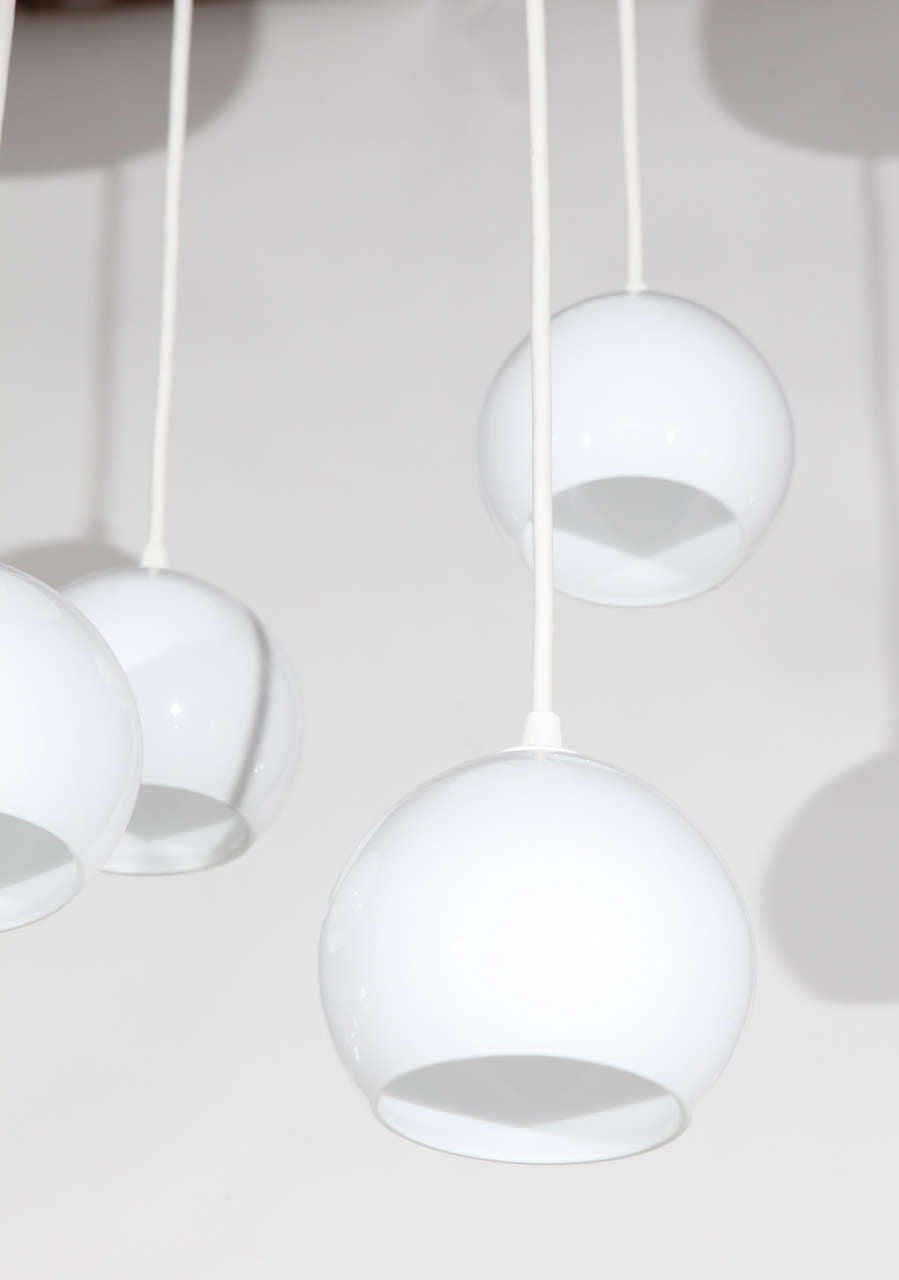 Mid-Century Modern Pair of Midcentury, Four-Light Pendants For Sale