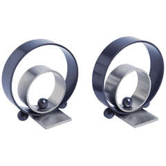 Pair of Walter Von Nessen Ring Bookends for Chase
