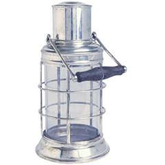 Iconic 1930s Asprey Silver Plate Art Deco Ships Lantern Cocktail Shaker