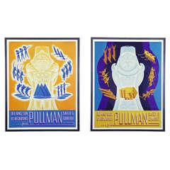 Pair of Original Art Deco 1936 Pullman Seasonal Travel Posters by William Welsh
