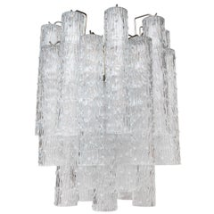 Textured Glass Tube Chandelier by Kalmar