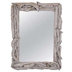 Vintage Silver Leafed Driftwood Frame Mirror