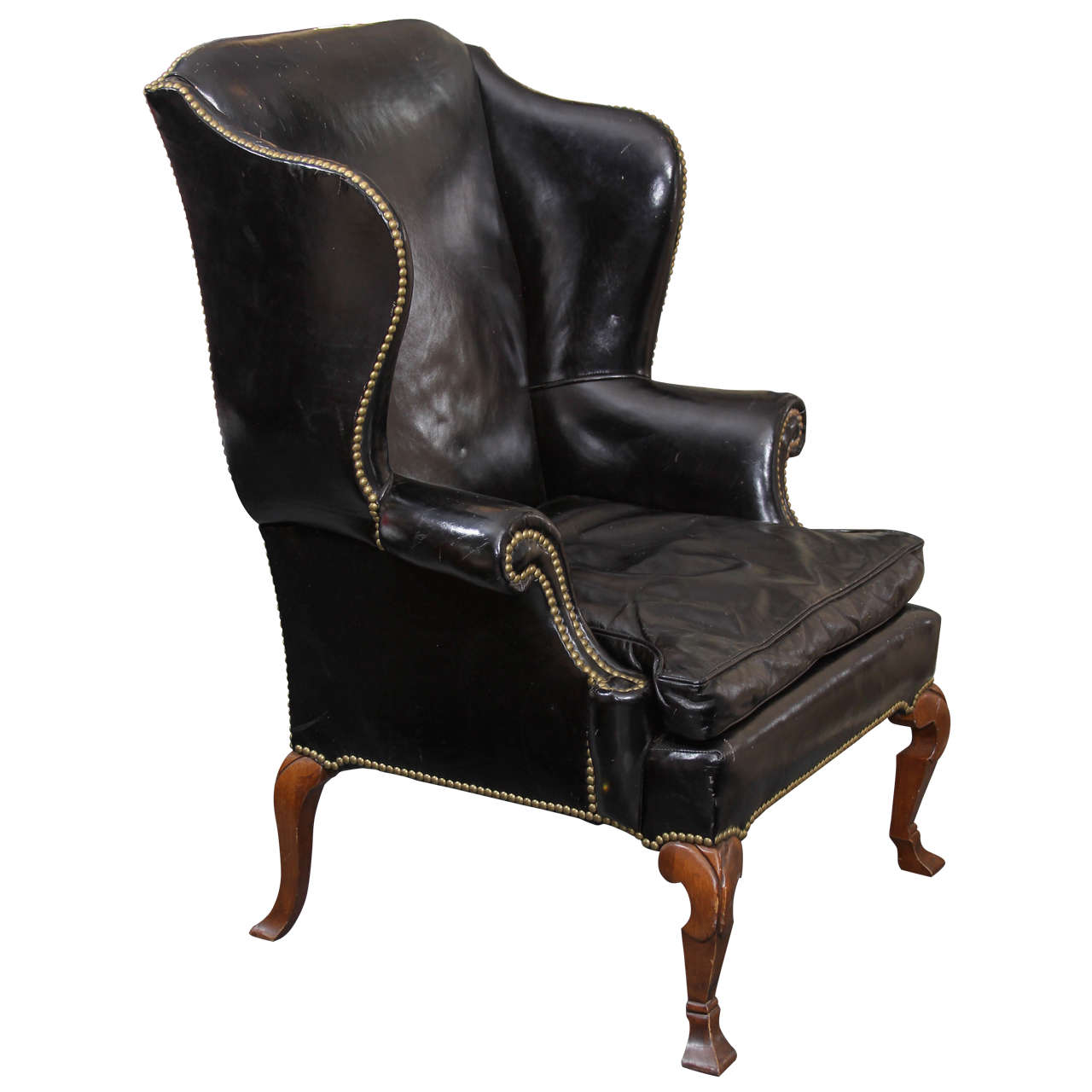 Black Leather Wing Chair at 1stdibs