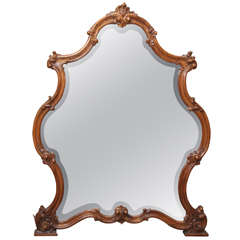 Large Carved Wood Frame Mirror