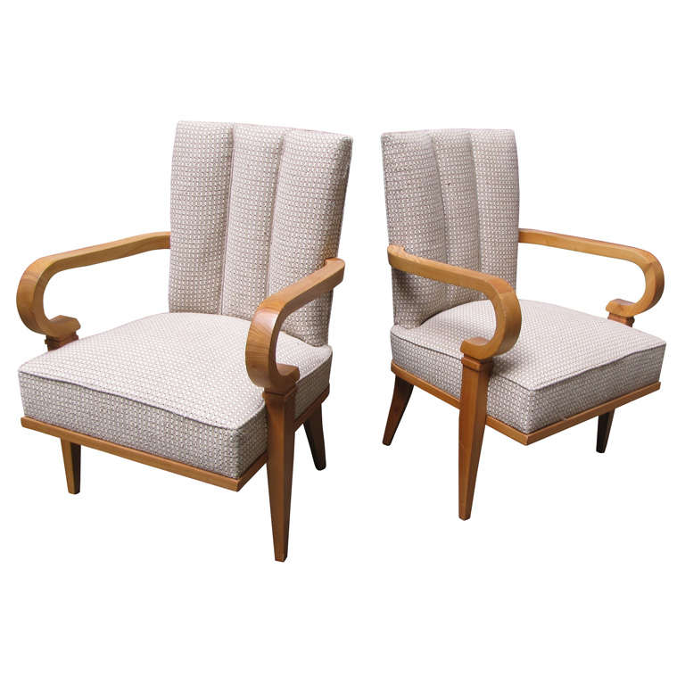 Beau Two Armchairs By Etienne Henri Martin, 1940s For Sale