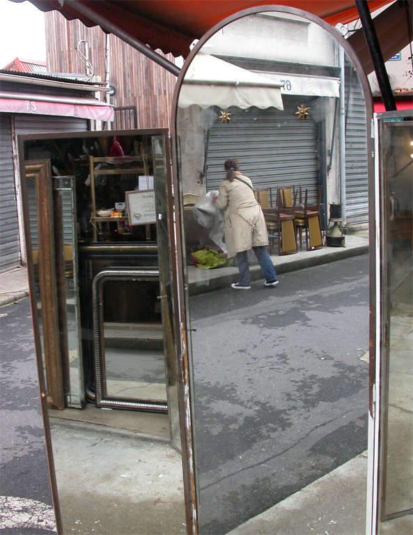 1940s Iron and Mirror Three-Panel Screen For Sale 1