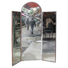 1940s Iron and Mirror Three-Panel Screen Art Deco