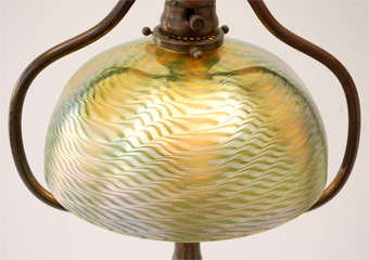 Bronze Floor Lamp with Damascene Shade by Louis Comfort Tiffany image 5