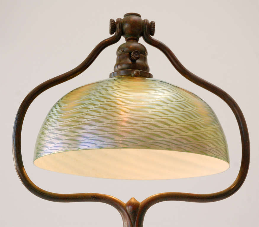 Bronze Floor Lamp with Damascene Shade by Louis Comfort Tiffany For Sale 2